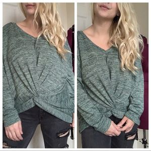Tops - Sage green knot front sweater long sleeve top